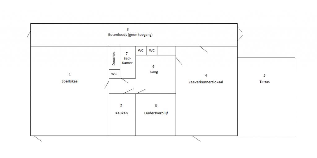 Verhuur plattegrond Scouting Elfregi Clubhuis te Amsterdam